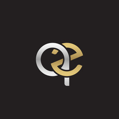 Initial lowercase letter qz, linked overlapping circle chain shape logo, silver gold colors on black background