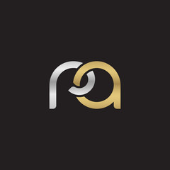 Initial lowercase letter ra, linked overlapping circle chain shape logo, silver gold colors on black background