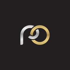 Initial lowercase letter ro, linked overlapping circle chain shape logo, silver gold colors on black background