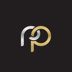 Initial lowercase letter rp, linked overlapping circle chain shape logo, silver gold colors on black background
