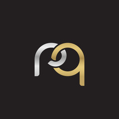 Initial lowercase letter rq, linked overlapping circle chain shape logo, silver gold colors on black background