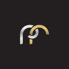 Initial lowercase letter rr, linked overlapping circle chain shape logo, silver gold colors on black background