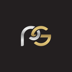 Initial lowercase letter rs, linked overlapping circle chain shape logo, silver gold colors on black background