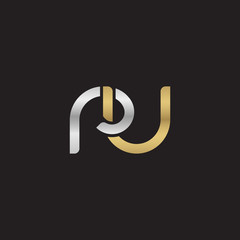 Initial lowercase letter ru, linked overlapping circle chain shape logo, silver gold colors on black background