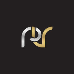 Initial lowercase letter rv, linked overlapping circle chain shape logo, silver gold colors on black background