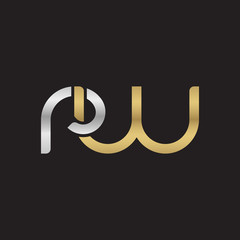 Initial lowercase letter rw, linked overlapping circle chain shape logo, silver gold colors on black background