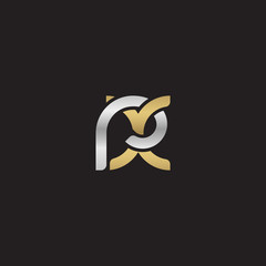 Initial lowercase letter rx, linked overlapping circle chain shape logo, silver gold colors on black background