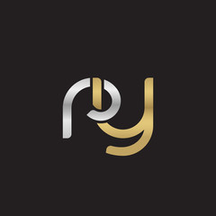 Initial lowercase letter ry, linked overlapping circle chain shape logo, silver gold colors on black background