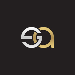 Initial lowercase letter sa, linked overlapping circle chain shape logo, silver gold colors on black background