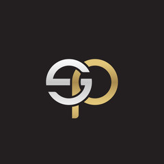Initial lowercase letter sp, linked overlapping circle chain shape logo, silver gold colors on black background