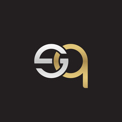 Initial lowercase letter sq, linked overlapping circle chain shape logo, silver gold colors on black background