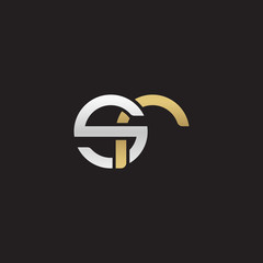 Initial lowercase letter sr, linked overlapping circle chain shape logo, silver gold colors on black background