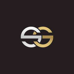 Initial lowercase letter ss, linked overlapping circle chain shape logo, silver gold colors on black background