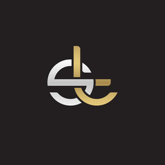 Initial lowercase letter st, linked overlapping circle chain shape logo, silver gold colors on black background