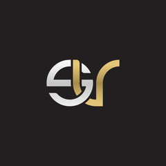 Initial lowercase letter sv, linked overlapping circle chain shape logo, silver gold colors on black background