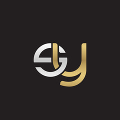 Initial lowercase letter sy, linked overlapping circle chain shape logo, silver gold colors on black background