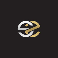 Initial lowercase letter sz, linked overlapping circle chain shape logo, silver gold colors on black background