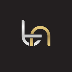 Initial lowercase letter tn, linked overlapping circle chain shape logo, silver gold colors on black background