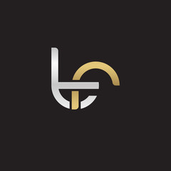 Initial lowercase letter tr, linked overlapping circle chain shape logo, silver gold colors on black background