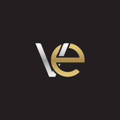 Initial lowercase letter ve, linked overlapping circle chain shape logo, silver gold colors on black background
