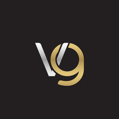 Initial lowercase letter vg, linked overlapping circle chain shape logo, silver gold colors on black background