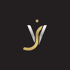 Initial lowercase letter vj, linked overlapping circle chain shape logo, silver gold colors on black background