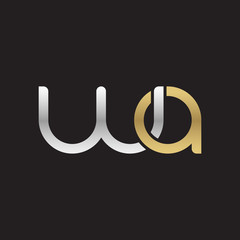 Initial lowercase letter wa, linked overlapping circle chain shape logo, silver gold colors on black background