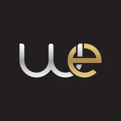 Initial lowercase letter we, linked overlapping circle chain shape logo, silver gold colors on black background