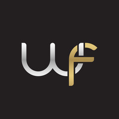 Initial lowercase letter wf, linked overlapping circle chain shape logo, silver gold colors on black background