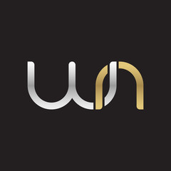 Initial lowercase letter wn, linked overlapping circle chain shape logo, silver gold colors on black background