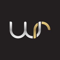 Initial lowercase letter wr, linked overlapping circle chain shape logo, silver gold colors on black background