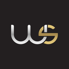 Initial lowercase letter ws, linked overlapping circle chain shape logo, silver gold colors on black background