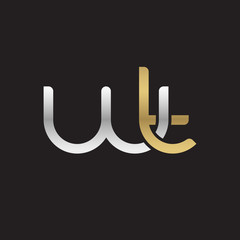 Initial lowercase letter wt, linked overlapping circle chain shape logo, silver gold colors on black background