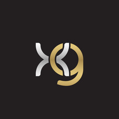 Initial lowercase letter xg, linked overlapping circle chain shape logo, silver gold colors on black background