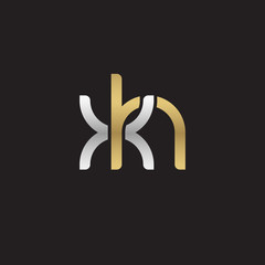 Initial lowercase letter xh, linked overlapping circle chain shape logo, silver gold colors on black background