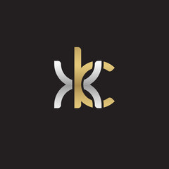 Initial lowercase letter xk, linked overlapping circle chain shape logo, silver gold colors on black background
