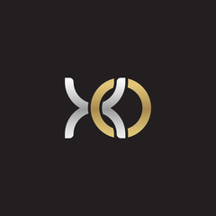 Initial lowercase letter xo, linked overlapping circle chain shape logo, silver gold colors on black background