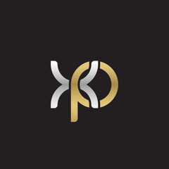 Initial lowercase letter xp, linked overlapping circle chain shape logo, silver gold colors on black background