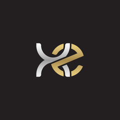 Initial lowercase letter xz, linked overlapping circle chain shape logo, silver gold colors on black background