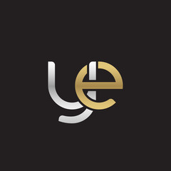 Initial lowercase letter ye, linked overlapping circle chain shape logo, silver gold colors on black background