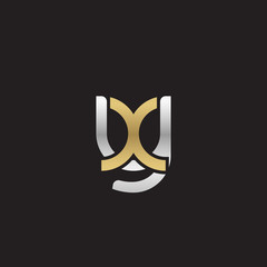 Initial lowercase letter yx, xy, linked overlapping circle chain shape logo, silver gold colors on black background