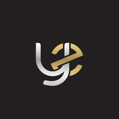 Initial lowercase letter yz, linked overlapping circle chain shape logo, silver gold colors on black background