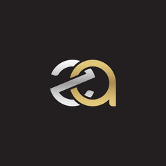 Initial lowercase letter za, linked overlapping circle chain shape logo, silver gold colors on black background