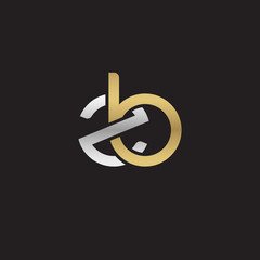 Initial lowercase letter zb, linked overlapping circle chain shape logo, silver gold colors on black background