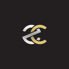 Initial lowercase letter zc, linked overlapping circle chain shape logo, silver gold colors on black background