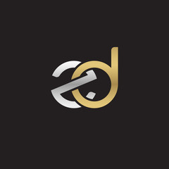 Initial lowercase letter zd, linked overlapping circle chain shape logo, silver gold colors on black background