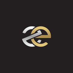 Initial lowercase letter ze, linked overlapping circle chain shape logo, silver gold colors on black background