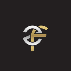 Initial lowercase letter zf, linked overlapping circle chain shape logo, silver gold colors on black background
