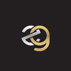Initial lowercase letter zg, linked overlapping circle chain shape logo, silver gold colors on black background
