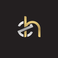 Initial lowercase letter zh, linked overlapping circle chain shape logo, silver gold colors on black background